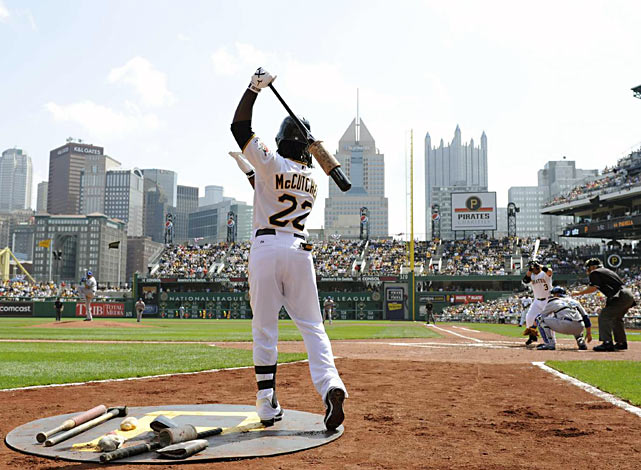 At PNC Park in Pittsburgh, Andrew McCutchen watches Dodgers pitcher Vincente Padilla from the on deck circle.