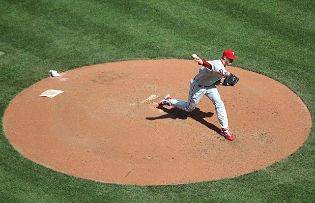 Phillies ace Roy Halladay pitches against Washington at Nationals Park.