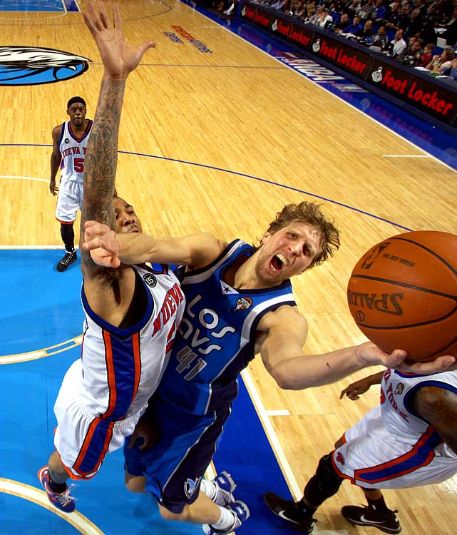His rebounding is down a bit, but Dirk Nowitzki continues to score at a 25-point clip and he has the Mavs battling for the No. 2 seed right down to the wire.