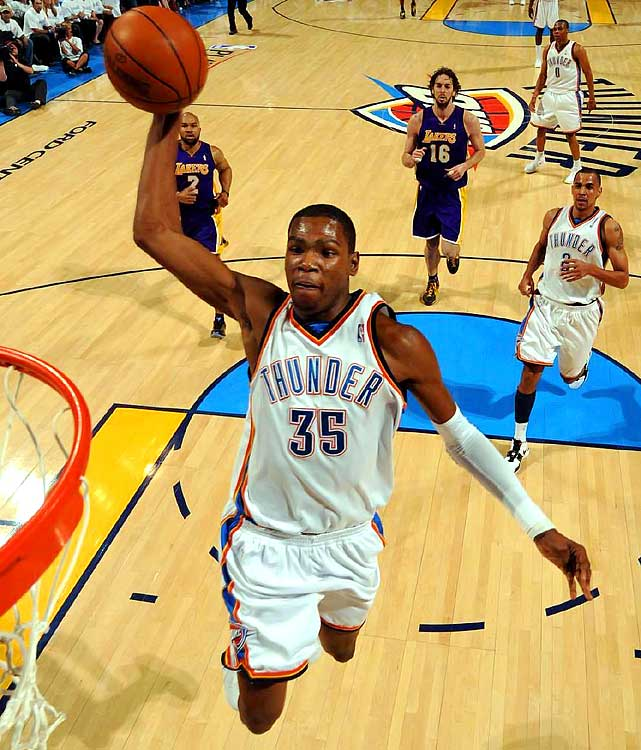 For those who called the Thunder's Game 3 win a fluke, Game 4 was OKC's rebuttal. Paced by Kevin Durant's 22 points, the Thunder jumped out to an early lead and never looked back, cruising to a 21-point win over the defending champion Lakers. The margin of victory was the highest by a No. 8 seed over a No. 1 seed since 2004.
