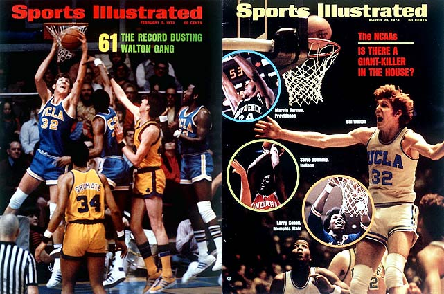 Bill Walton goes 21-for-22 in the title game for the Bruins against Memphis, who complete their second straight undefeated season.