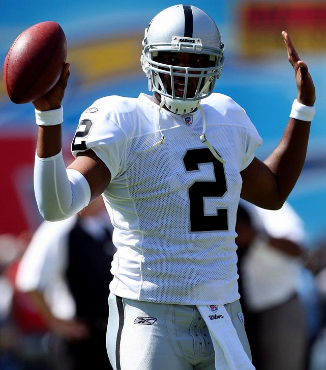 Despite possessing the superb arm strength and prototypical size of a budding NFL superstar, JaMarcus Russell fizzled in Oakland after three seasons, over which the LSU product threw for 23 interceptions and only 18 touchdowns. After Russell was reported to have shown up to training camp in March 2010 weighing close to 300 pounds, the Raiders traded for veteran QB Jason Campbell and cut Russell the first week of May. He joins a woeful group of high-draft pick gunslingers who never turned potential into production.