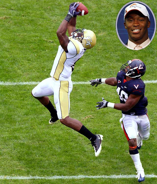 Round  	Pick  	Player  	Position  	School  1 	22 (22) 	Demaryius Thomas (pictured) 	WR 	Georgia Tech 1 	25 (25) 	Tim Tebow 	QB 	Florida 2 	13 (45) 	Zane Beadles 	G 	Utah 3 	17 (80) 	J.D. Walton 	C 	Baylor 3 	24 (87) 	Eric Decker 	WR 	Minnesota 5 	6 (137) 	Perrish Cox 	CB 	Oklahoma State 6 	14 (183) 	Eric Olsen 	C 	Notre Dame 7 	18 (225) 	Syd'Quan Thompson 	CB 	California 7 	25 (232) 	Jammie Kirlew 	DE 	Indiana