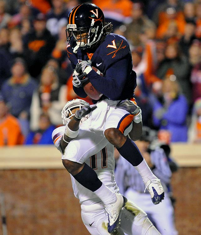 Held back only by off-the-field issues and injuries, Cook is an intriguing prospect because of his unique size (6-foot-2, 212 pounds) and strength (143 career tackles at UVA). His four picks in 2009 proved he has soft, quick hands, and he has been mentioned as a potential candidate to move to safety in the NFL.