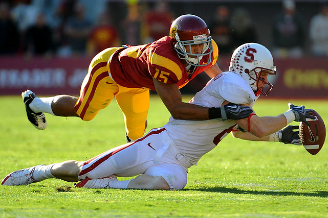 Hobbled by injuries throughout his five years at USC, Thomas heads into the draft with little hype but plenty of skills. He has good size for a corner and has an explosive first step to the ball (he ran the 40 in 4.48 seconds). But Thomas has yet to realize his potential, and has been criticized for being fooled too easily on double moves.