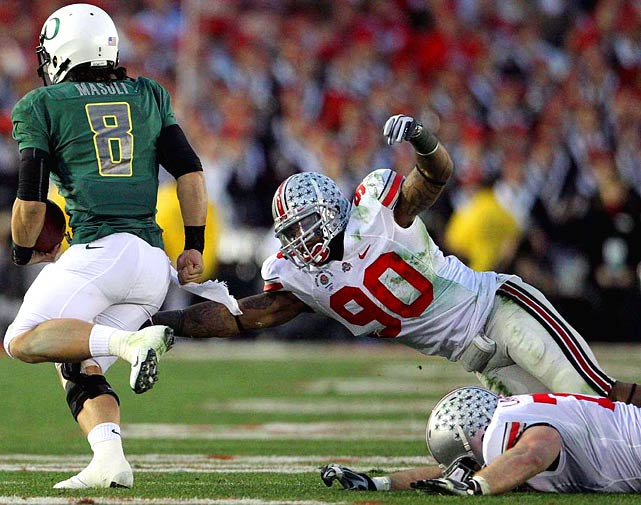 Primarily a defensive end at OSU, Gibson is versatile and explosive. The Buckeye defender has enough speed to pursue ball carriers from the linebacking spot, and enough awareness to read plays from the snap. But he likely needs to bulk up a bit to avoid getting run over in the pros, and at times his speed is neutralized by a lack of discipline, as he had a knack for picking up unnecessary penalties in college.