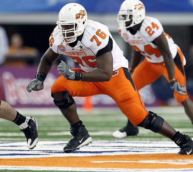 A starter at left tackle for Oklahoma State since his true man season, Okung has the size (6-5, 307 lbs.), strength, and balance to be a great NFL player. Okung will likely be a top-10 draft pick, and should be a rock on the blind side for whatever team selects him.