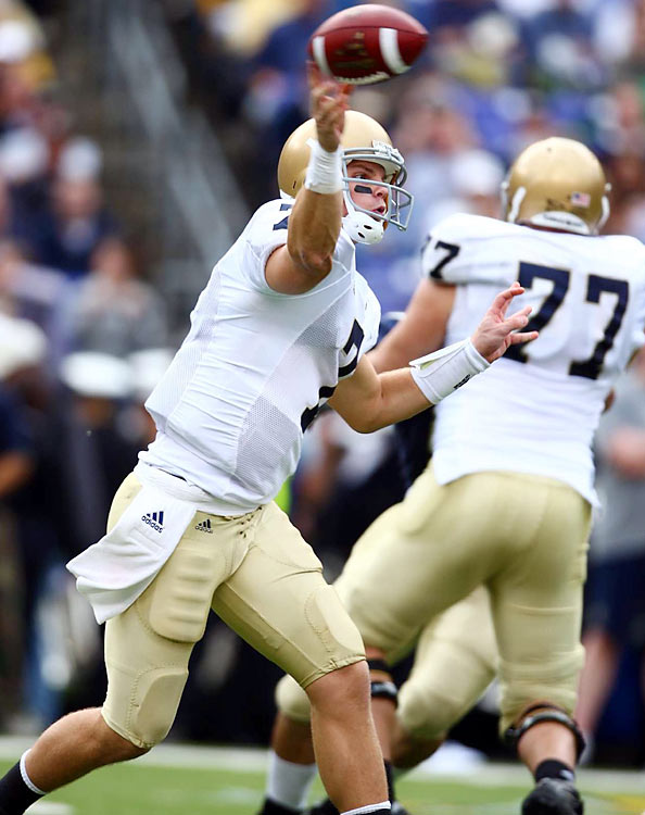 Clausen played in a pro-style offense in college under Notre Dame coach Charlie Weis, racking up 3,722 yards passing and 28 touchdowns during the 2009 season. Scouts love Clausen's accuracy, toughness, and pro pedigree.