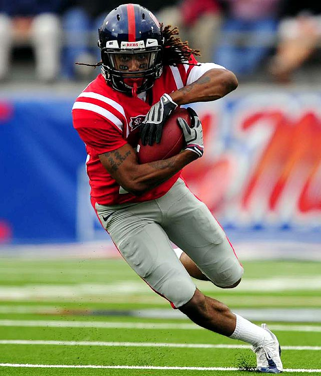 Ole Miss' McCluster is a ball of fury in a tiny package. A potential pro running back, wide receiver or return man, McCluster is a hair under 5-9, but is lightning quick with the ball, evidenced by his career average of more than 6 yards per carry at Mississippi. Expect him to go in the second or third round of the draft.