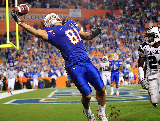 Hernandez became a favorite target of Gators QB Time Tebow in 2009, catching 68 passes for 850 yards and 5 scores. He has good hands and natural athleticism, but NFL scouts worry his lack of size for a tight end could make him a blocking liability. Still, Hernandez is a playmaker, as he proved with his production in college.