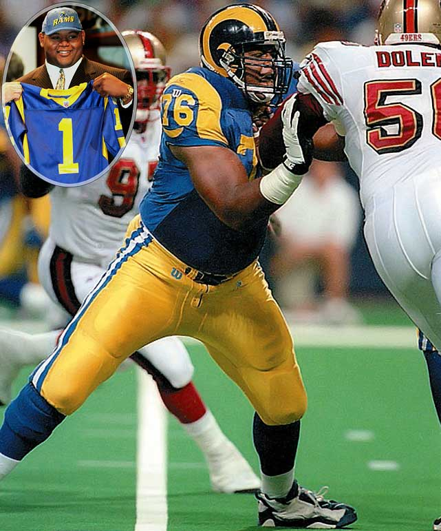 After not allowing a quarterback sack during his final two years at Ohio State, the brawny left tackle became the first offensive lineman in 29 years to go first overall in the draft. Pace helped the Rams to the franchise's first-ever Super Bowl victory while blocking for Kurt Warner during the '99 season.