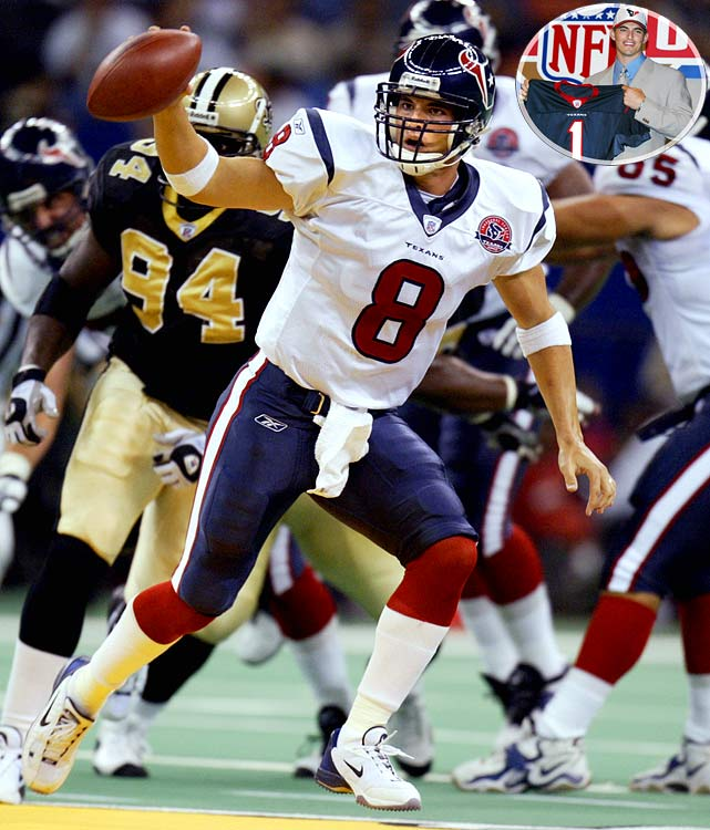 One of the most prolific passers in college football history, Carr threw for 7,849 yards and 70 touchdowns during a four-year career at Fresno State. But Houston's first overall pick in franchise history, Carr couldn't handle the pressure -- literally. Carr set the single-season record for sacks taken (70) during his rookie season and struggled mightily throughout his five-year stint in the Lone Star State.