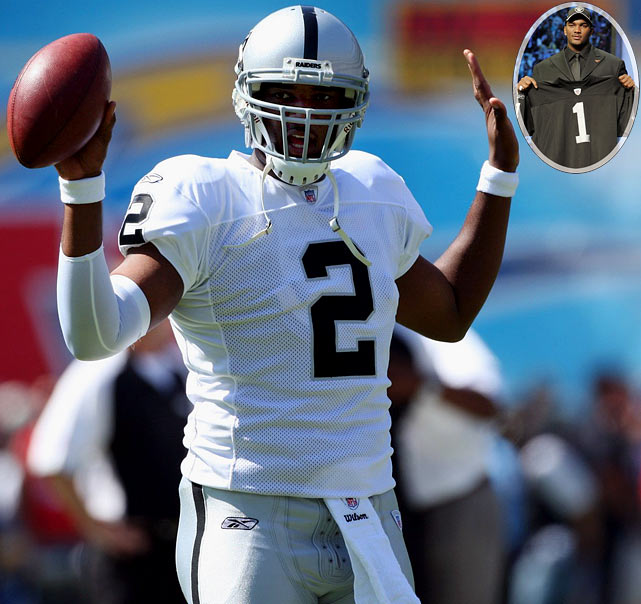 After leading LSU to a dominating 41-14 victory over Notre Dame in the Sugar Bowl as a junior, Russell rode the wave of momentum into the NFL Draft and went to the Raiders with the first overall pick. But Russell's physical tools -- primarily his ridiculous arm strength -- didn't pan out the way the Raiders envisioned. He was released in May 2010 with a 7-18 record and hasn't been picked up by another NFL team.