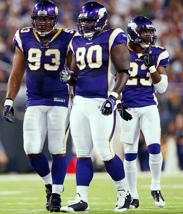 The Vikings defensive tackle (90) lost two games after he was charged with battery on a law enforcement officer, disorderly conduct, resisting arrest and trespassing when had had to be Tasered out of a Miami cab in 2007. He was already on probation on a drug charge in Texas.