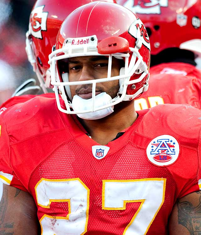 The Chiefs running back was suspended one game in 2008 for allegedly spitting on a woman in a club. The incident was one in several in a line of alleged violent incidents against females.