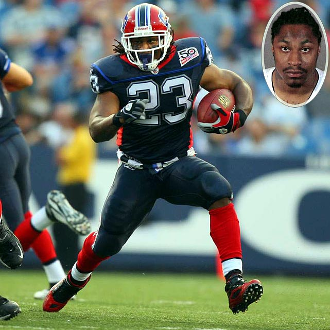The Bills running back was suspended for the first three games of the 2009 season after pleading guilty to a misdemeanor gun charge in Los Angeles. Lynch, who was sentenced to 80 hours of community service and three years of probation, was found with a 9mm handgun in a backpack in his car in Culver City, Calif., his second brush with the law after an earlier hit-and-run incident.
