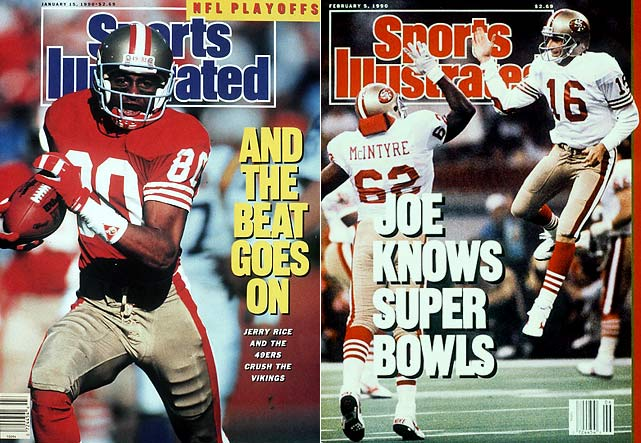 Joe Montana completed over 70 percent of his passes in 1989, mostly to his two favorite targets: Jerry Rice (1,483 yards, 17 TDs) and John Taylor (1,077 yards, 10 TDs). The 49ers crushed Denver 55-10 in the Super Bowl after jumping out to a 27-3 advantage by halftime.