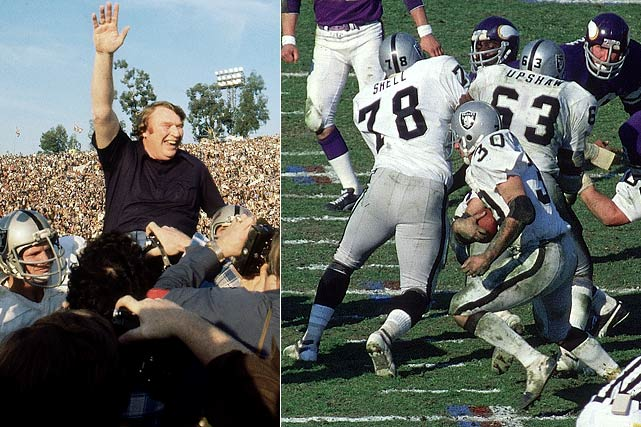 Led by Hall of Fame coach John Madden, the Raiders went 16-1 including the playoffs in 1976, winning their first Super Bowl. Oakland's offensive line was one of the best and most dominant in NFL history, including Hall of Famers Art Shell and Gene Upshaw.<br><br>Honorable mentions:<br><i>1950 Browns, 1975 Steelers, 1986 Giants,<br> 1992 Cowboys and 2001 Rams</i>