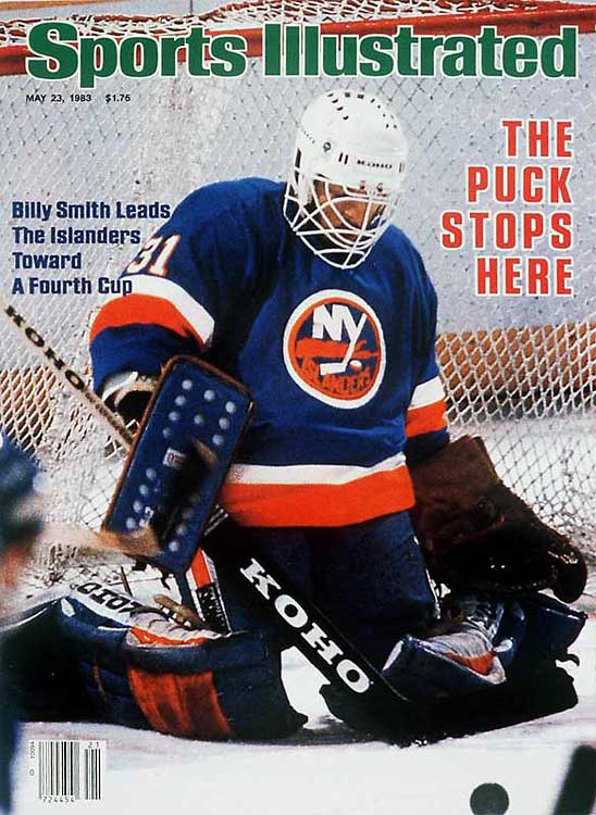 Renowned as the NHL's greatest money goaltender, the combative Smith led the league in postseason wins each season from 1980 through 1984. He capped the Isles' run of four straight Cups by going 13-3 with 2.69 GAA, including a four-game final sweep of the high-powered Oilers in which he allowed only six goals and enraged the citizens of Edmonton by cutting down Wayne Gretzky with a swing of the goalie stick.