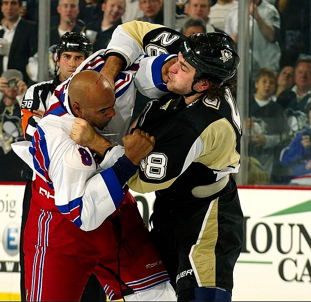 The 6-4, 225-pound right winger got three percent of the vote. A stretch on the sideline due to a groin injury has helped limit him to modest 3-1-2 mark this season, but in 2008-09, Godard appeared in an NHL career-high 21 regular-season scraps. He went 11-5-5 while splitting four bouts, and lips no doubt, with the dreaded Colton Orr.