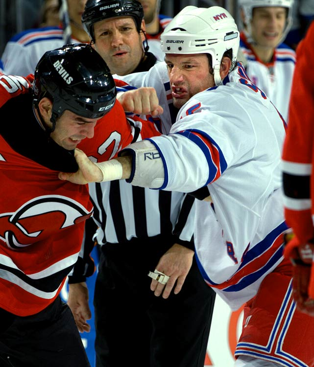 The bruising Broadway Blueshirt winger, a veteran of 174 NHL fights since 2000, earned five percent of the vote. He's 7-3-3 this season, with wins over Colton Orr and Eric Godard, and his career resume includes three bouts with the legendary Bob Probert in one 2002 game while playing for Columbus, and a fourth two days later.