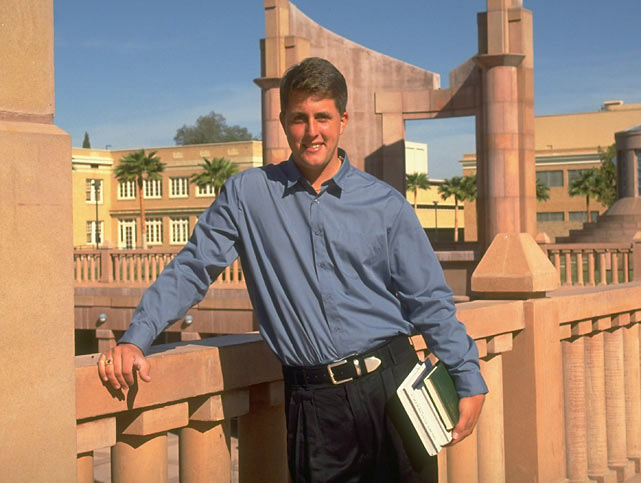 Mickelson poses in front of Hayden Library on the campus of Arizona State. In his four years at ASU, Mickelson captured three NCAA individual championships and three Haskins Awards (1990, 1991, 1992) as the nation's most outstanding collegiate golfer.