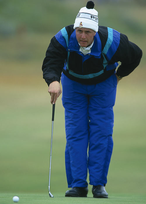 Mickelson, 21, prepares for a shot during the 1991 British Open. The lefty finished in a tie for 73rd place but took home no prize money due to his amateur status.