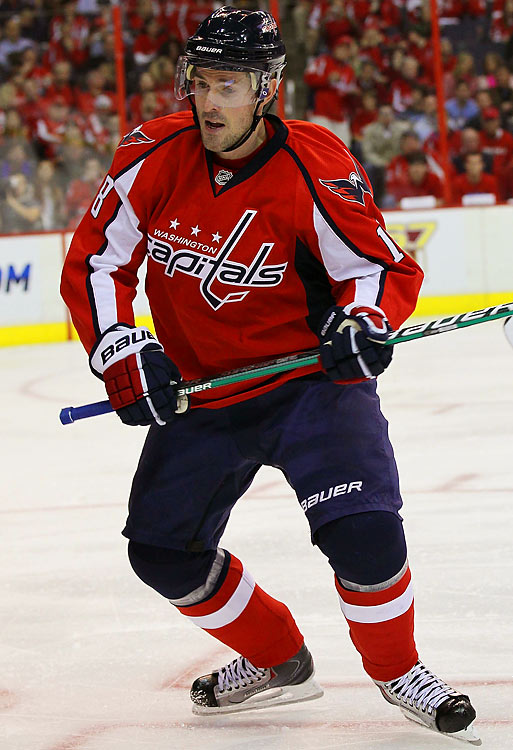 """""""I knew I was in trouble, but what are you going to do? It's the playoffs.""""     Capitals center Eric Belanger who lost about a half-dozen teeth while playing the Canadiens yet returned to the game."""