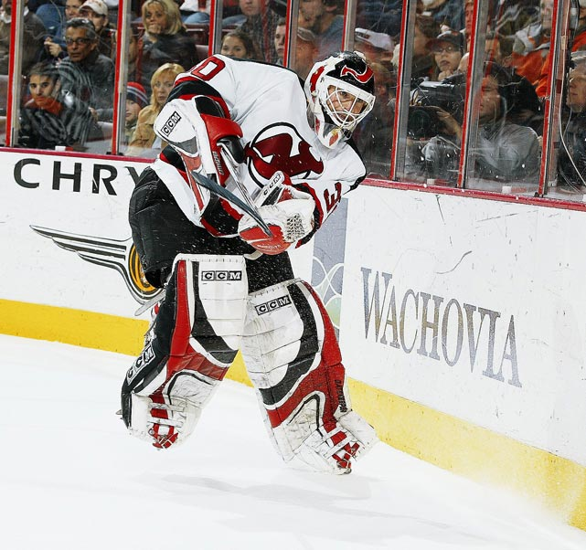 "New Jersey Devils' goaltender Martin Brodeur is widely considered one of the most skilled players at his position in history. On the heels of a lockout, the NHL instituted a new rule preventing goalies from playing the puck behind the goal line, except within a designated area directly behind the net. The rule change was seen by many around the league as a direct hit to Brodeur, perhaps the game's best puck-handling netminder, leading to the rule being sarcastically called ""The Brodeur Rule."""