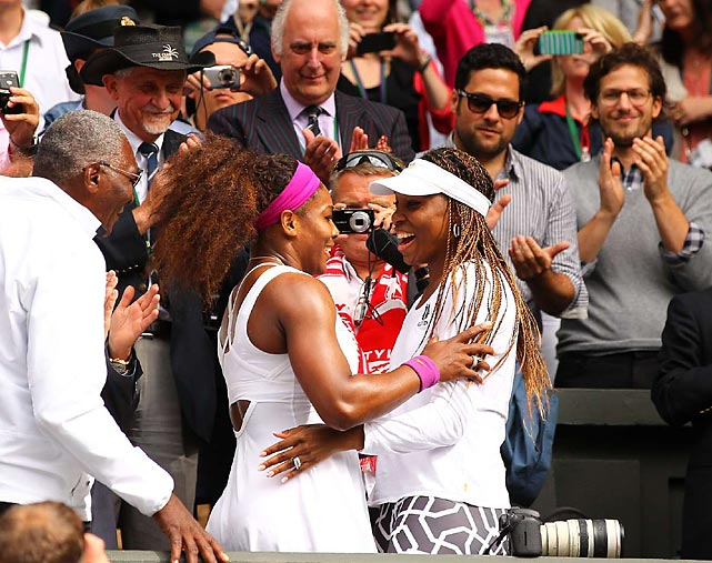 Richard and Venus Williams congratulate Serena after she won Wimbledon for the fifth time, which marked her first major title in two years.