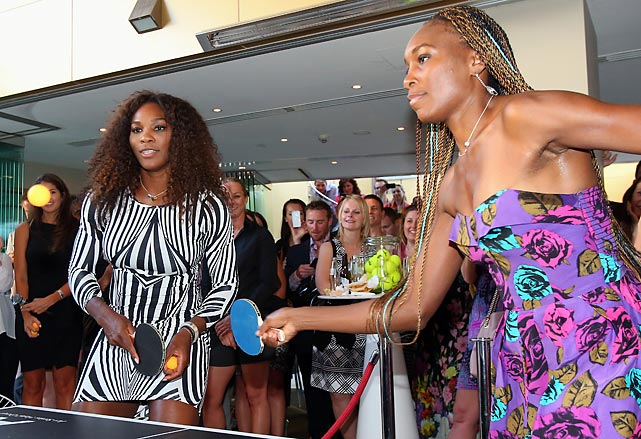"Serena and Venus play table tennis at a ""Welcome to Melbourne"" event hosted by the Olsen Hotel in Melbourne, Australia."