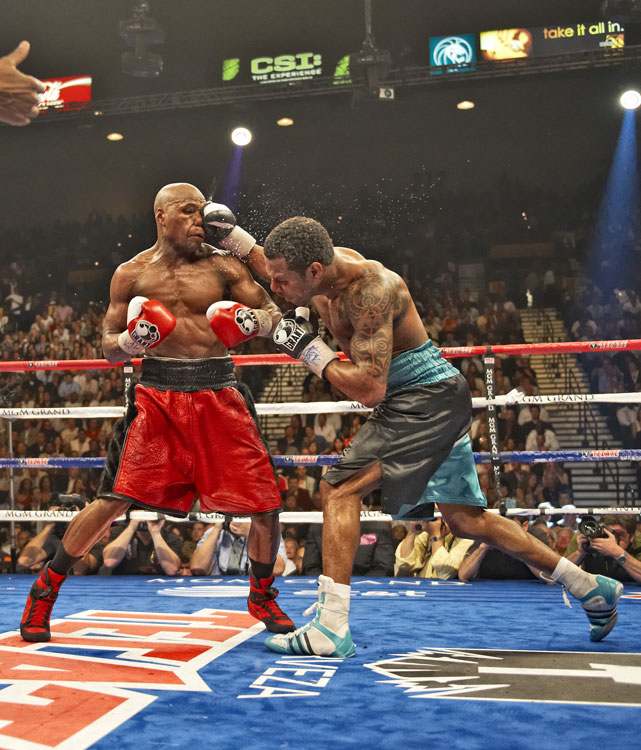 Mosley was a 4-to-1 underdog against the undefeated Mayweather, but looked primed for an upset early when the two met at the MGM Grand Garden Arena. Mosley rocked Mayweather with a pair of right hands in the second round, but couldn't finish the job as the younger, slicker Floyd escaped with a lopsided decision victory.