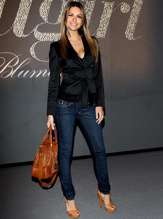 Italian showgirl Alessia Ventura, fiancée of Italian striker Filippo Inzaghi (AC Milan), attends a show during Milan Fashion Week.