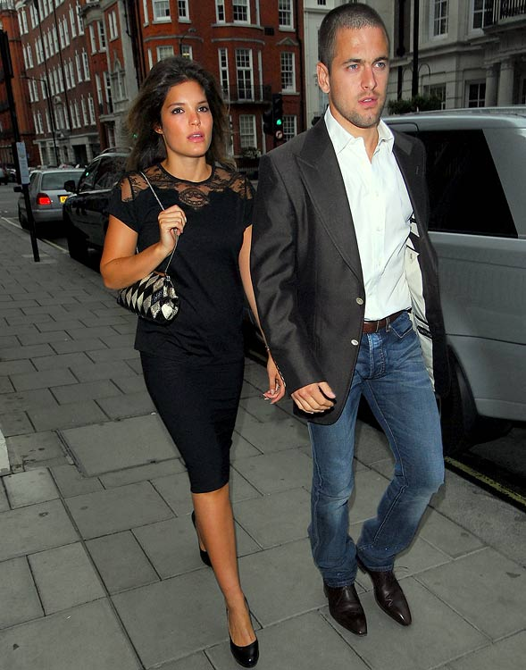 Carly Zucker arrives at a restaurant in London with husband, Chelsea footballer Joe Cole.