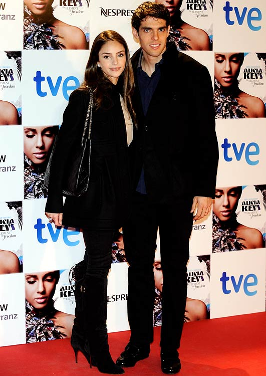 Caroline Celico and husband, Brazilian midfielder Kaka (Real Madrid), attend an Alicia Keys concert in Madrid.