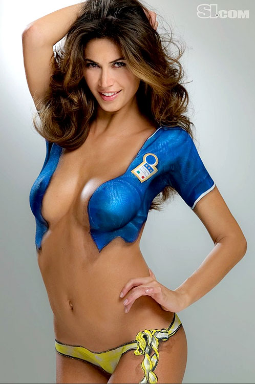 Ex-Italian striker Christian Vieri's girlfriend, model Melissa Satta, poses in bodypaint for the 2010 SI Swimsuit Issue.