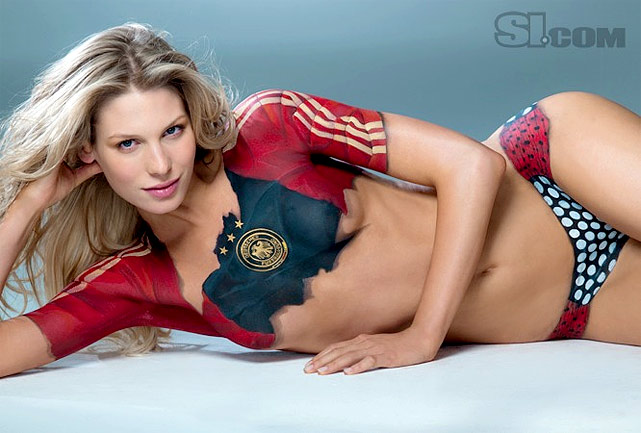 Model Sarah Brandner, girlfriend of German midfielder Bastian Schweinsteiger (Bayern Munich), poses in bodypaint for the 2010 SI Swimsuit Issue.