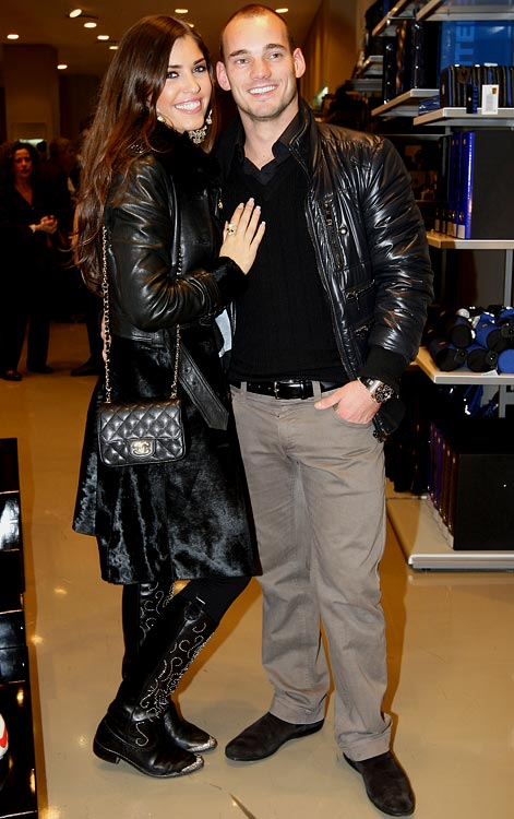 FC Internazionale Milan midfielder Wesley Sneijder and his girlfriend, actress Yolanthe Cabau Van Kasbergen attend the attend a cocktail party for his team.