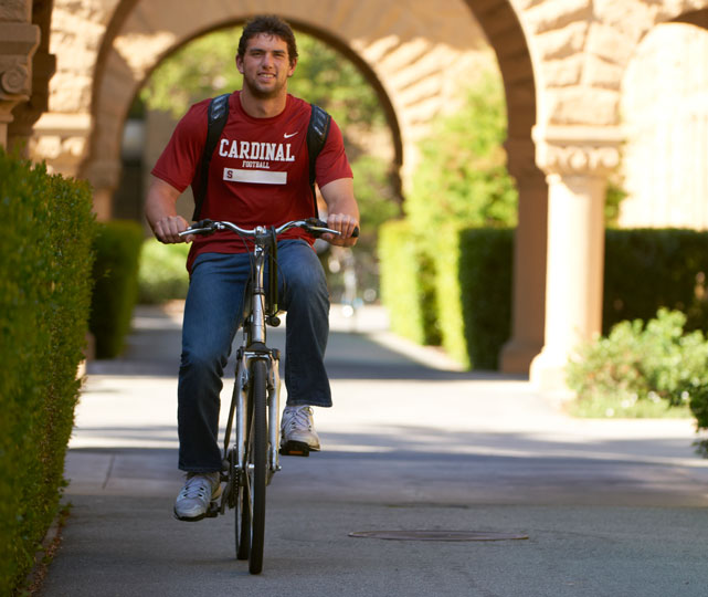 Andrew Luck takes a ride through the campus of Stanford. A year later, the Colts would select him with the No. 1 overall pick in the NFL draft.