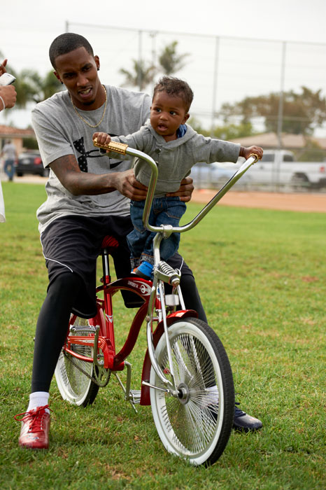 Bucks guard takes a young fan for a ride in Gardena, Calif.