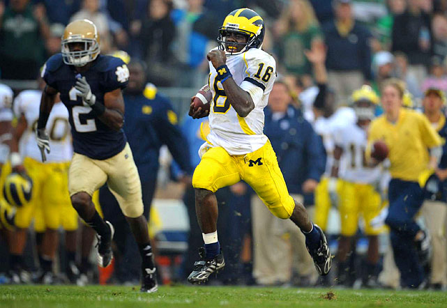 "One the most exciting players in college football, Robinson generated early-season Heisman hype for his breakout play in 2010.  The dynamic sophomore threw for 1,008 yards and ran for another 905 in Michigan's 5-0 start. Though the team has struggled since (it finished 7-5), ""Shoelace"" propelled the Wolverines to the Gator Bowl against Mississippi State, their first bowl appearance in three years."