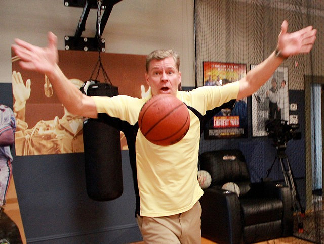 "As you know, Dan and Danettes work as hard during the break playing sports as they do during the show. Check out Dan showing off his ""No hands Ma"" fake-out."
