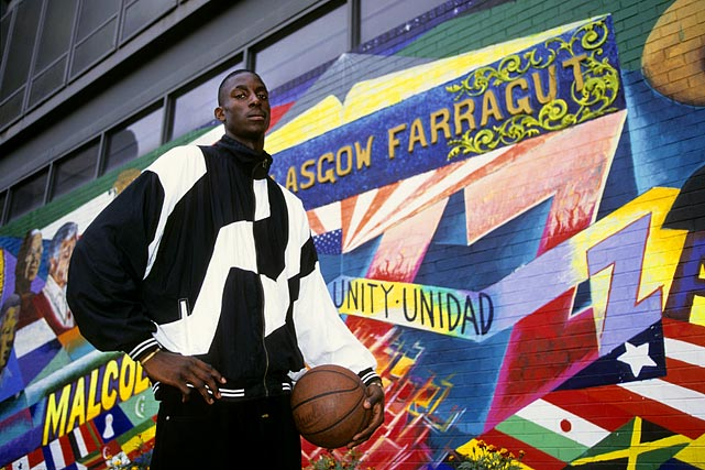 Garnett poses outside of Farragut Career Academy. KG played for Mauldin High in South Carolina for his first three seasons but transferred to Farragut before his senior year.