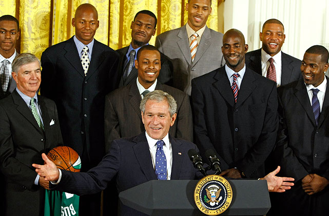 Garnett and his Celtics teammates meet President George W. Bush after winning the NBA Championship.