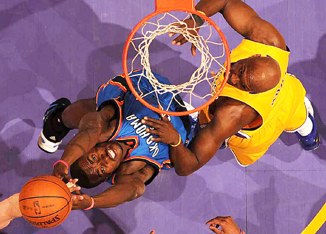 Serge Ibaka of the Oklahoma Thunder vies for a rebound in Game 5  game against the Los Angeles Lakers at the Staples Center. Ibaka had a team-high nine rebounds along with 12 points in the 111-87 loss.