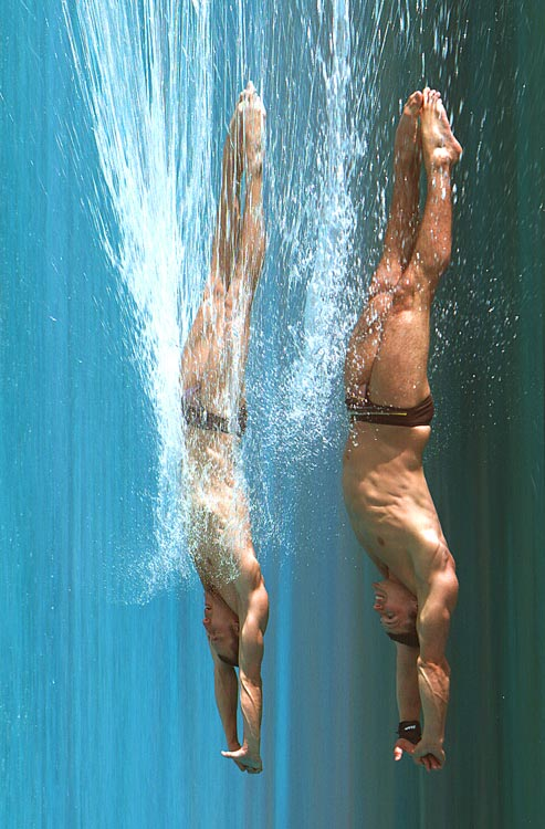 Dutch divers Yorick de Bruijn (right) and Ramon de Meijer were photographed just before they hit the water during the synchronized three-meter springboard final at the AT&T USA Diving Grand Prix in Fort Lauderdale on May 8. A digital scanning technique made it appear as if they had already created a splash. De Bruijn and De Meijer finished in 10th place in the event won by Troy Dumais and Kristian Ipsen of the USA.
