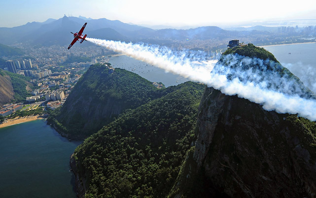 Pete McLeod of Canada in action over Sugar Loaf Mountain during the Red Bull Air Race Day 4 on May 5 in Rio de Janeiro.