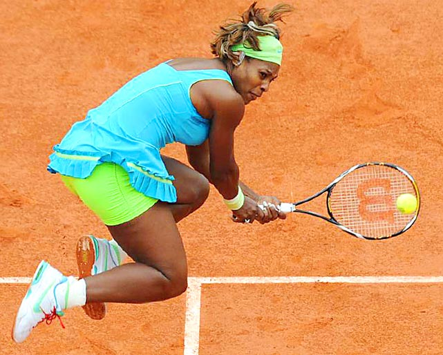 Serena Williams returns against Russia's Anastasia Pavlyuchenkova during their third-round match at the French Open on May 29 in Paris. Williams won 6-1, 1-6, 6-2.