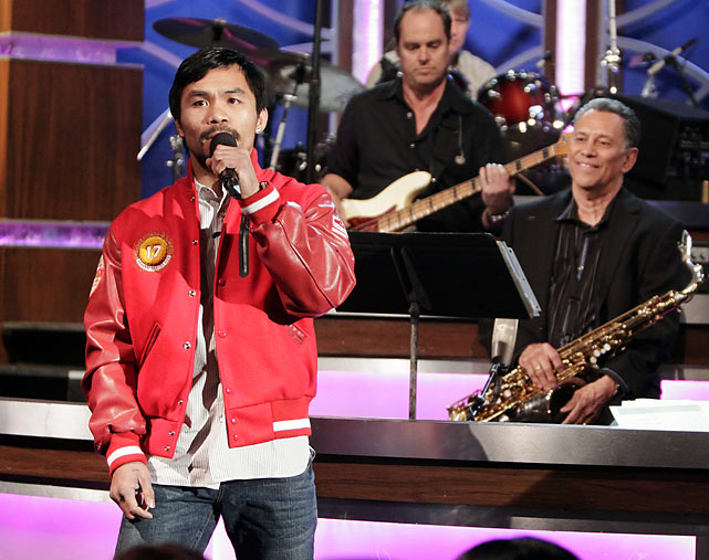 Pacquiao shows off his singing voice during an appearance on Jimmy Kimmel Live.