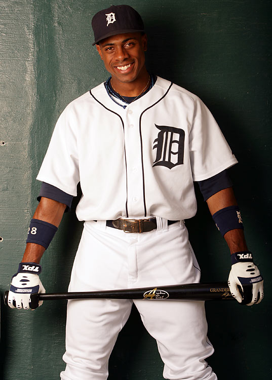 In 2007, Granderson became just the third player in baseball history to finish with at least 20 doubles, 20 triples, 20 home runs and 20 stolen bases in a single season, making his Tiger teammates very happy.